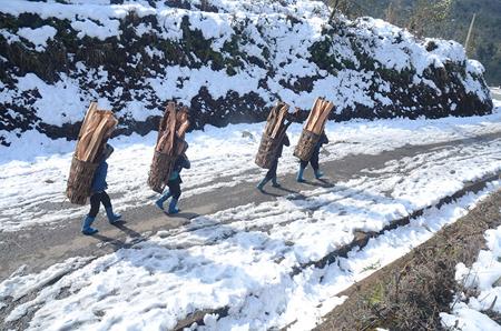 điểm du lịch có tuyết- Những con đường được phủ một lớp băng trắng ở Y Tý