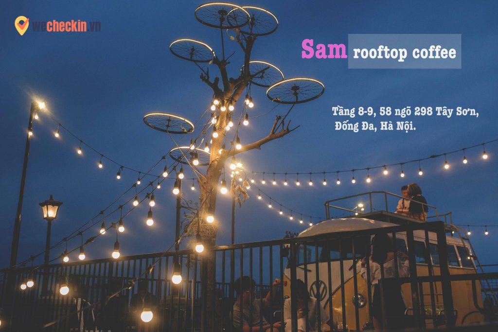 Sam Rooftop Coffee vào chiều tối