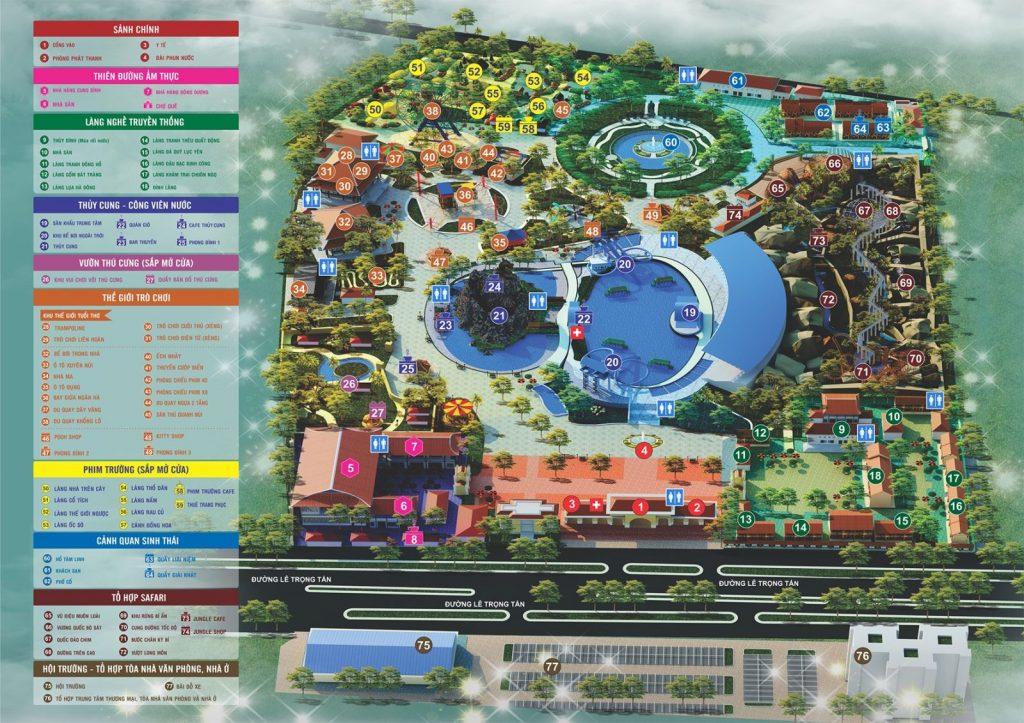 Khu du lịch Thiên Đường Bảo Sơn khá rộng, được chia thành 8 khu vui chơi chính