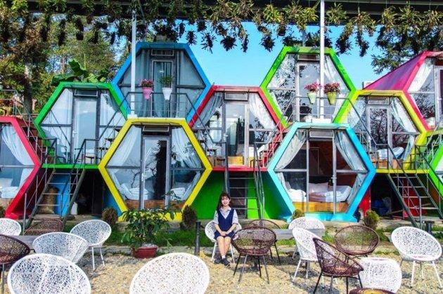 Phòng ốc ở đây được xây dựng theo thiết kế dạng tổ ong với màu sắc nổi bật.