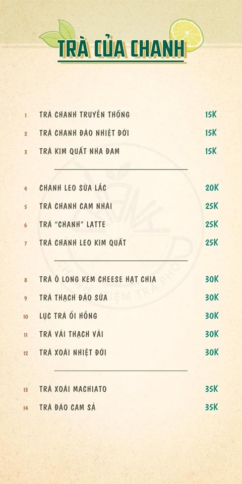 Menu ở Chanh - Tiệm trà phố