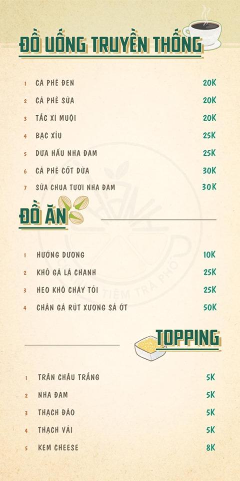 Giá thành đồ uống tại Menu ở Chanh - Tiệm trà phố