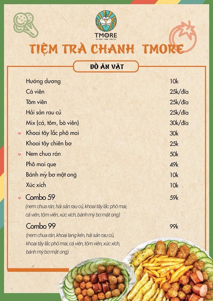 Menu đồ ăn vặt ở Tmore