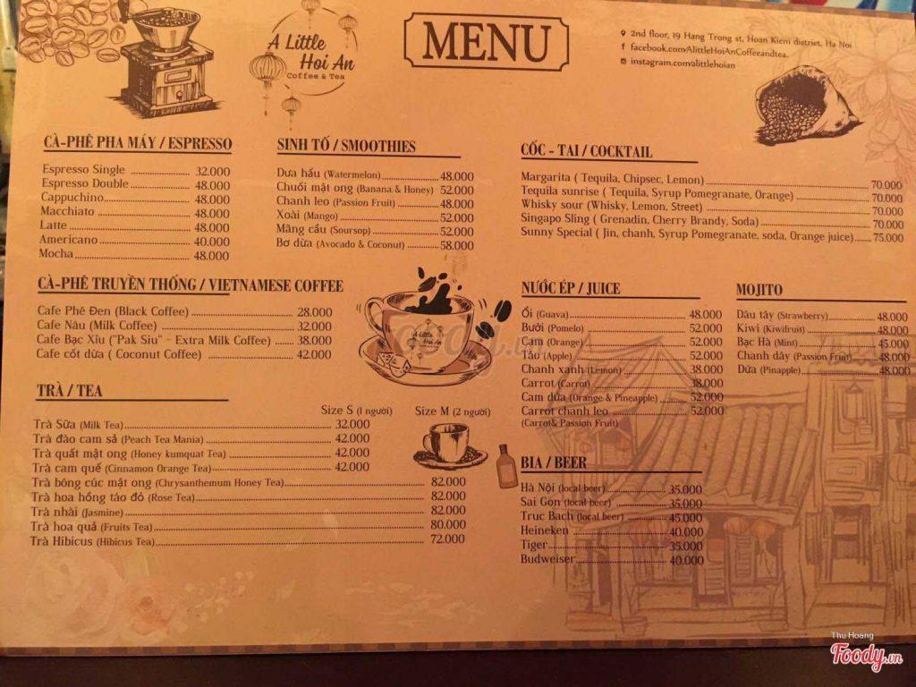 Menu A Little Hoi An - quán cafe đẹp ở Hà Nội