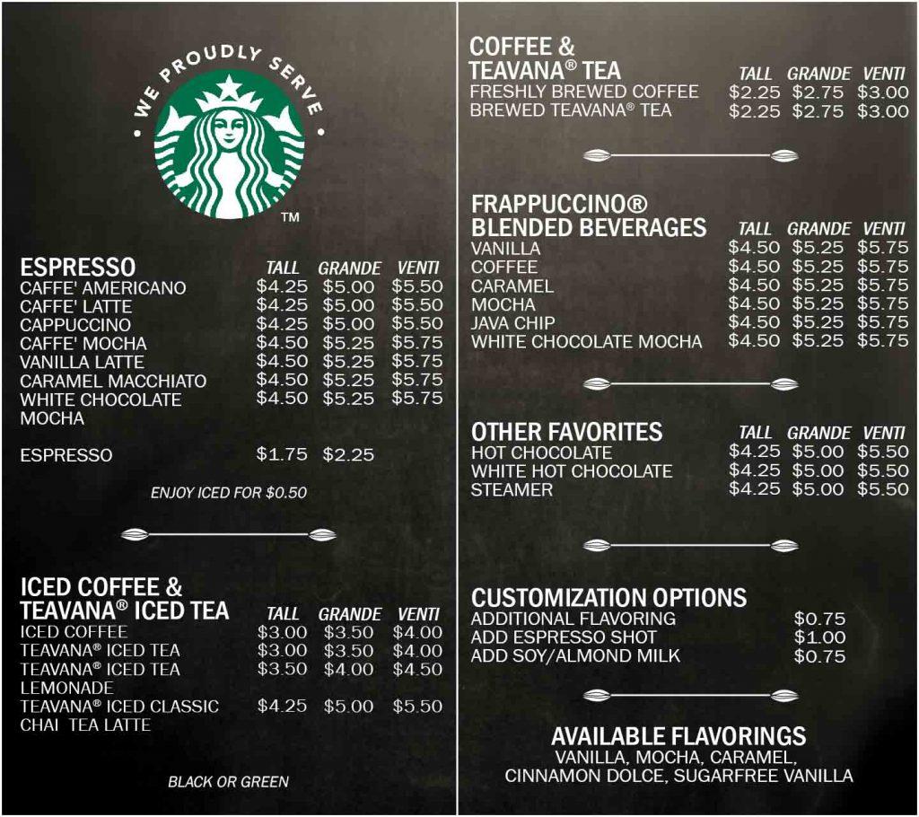 Menu Starbucks