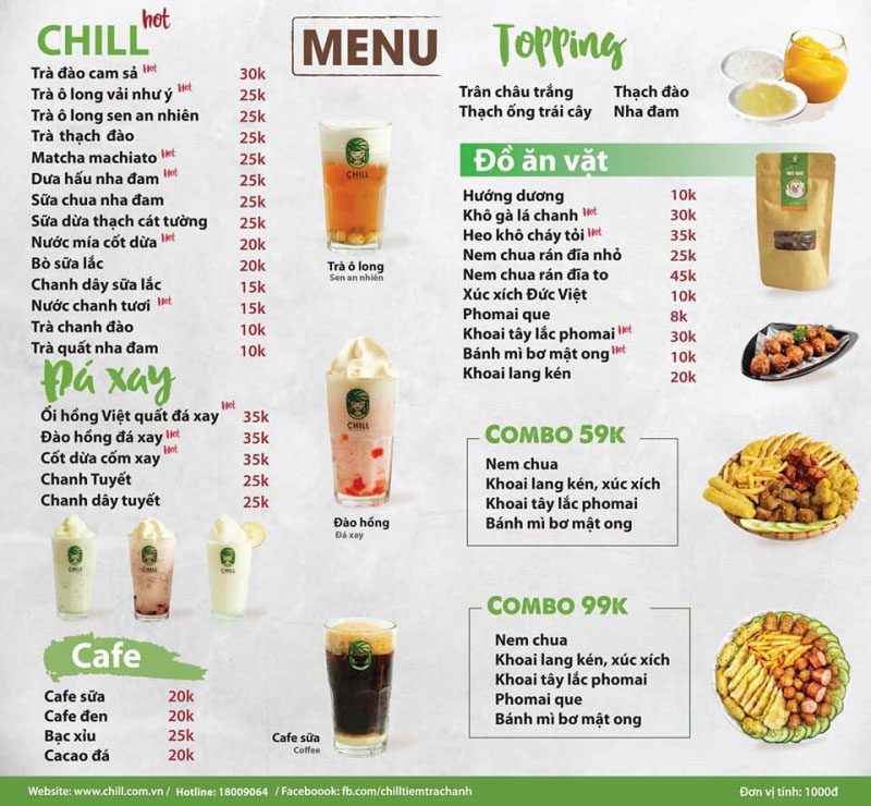 Menu Chill Tiệm trà chanh