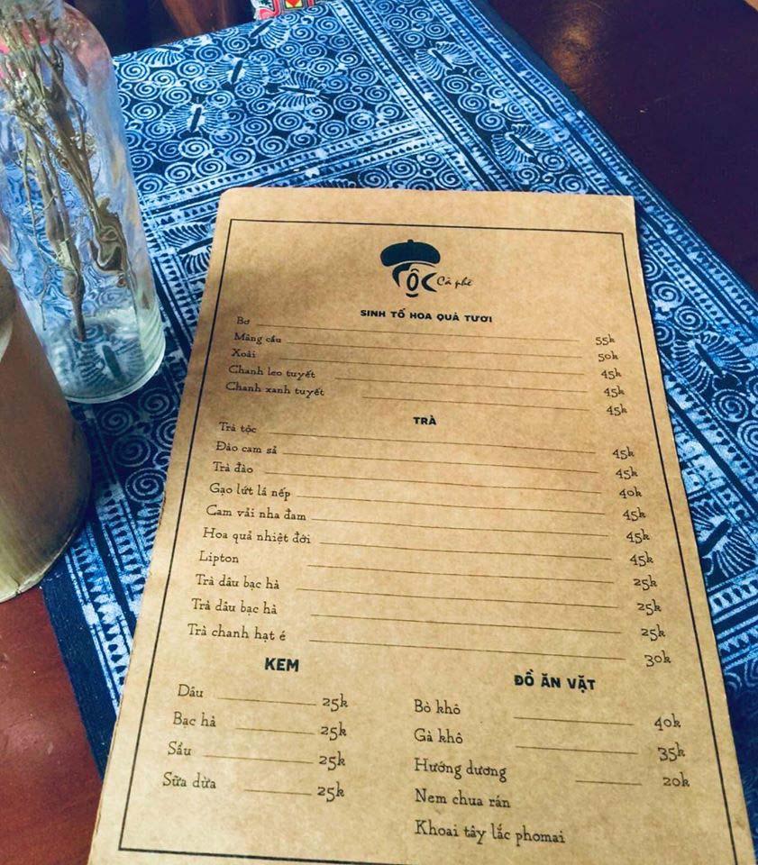 Menu Tộc Cafe