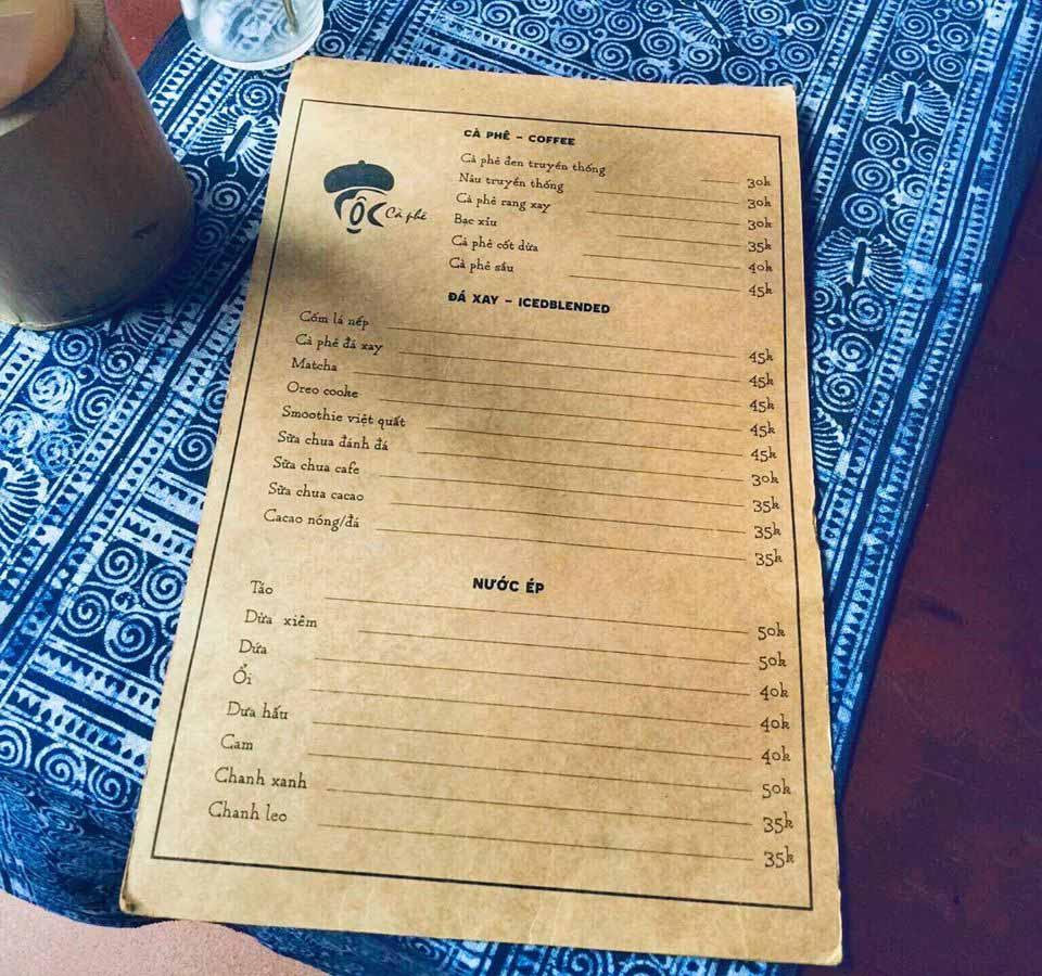 Menu Tộc Cafe Yên Lãng