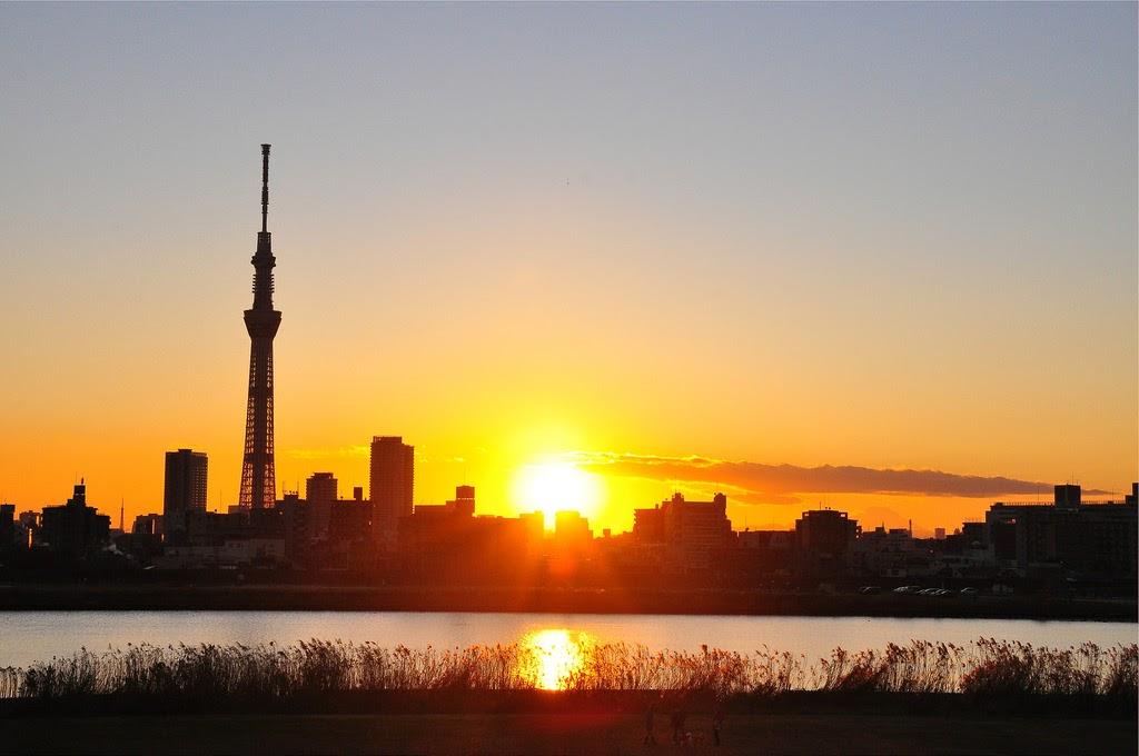 Bình minh lên ở thủ đô Tokyo Nhật Bản