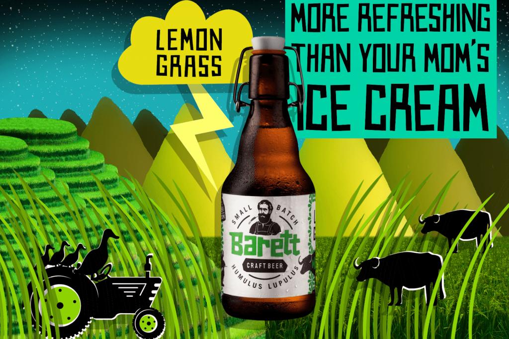 Bia thủ công Barret: Dòng bia Lemongrass Weizen: đậm vị hoa quả, mật ong, hương sả thơm lừng cùng mơ rừng.