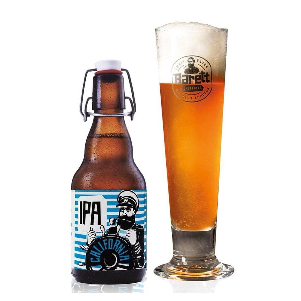 Bia thủ công Barret: Dòng bia California IPA: có mùi thơm của kẹo bơ cứng caramel, trái cây, hoa bia mộc và chút hạt tiêu.