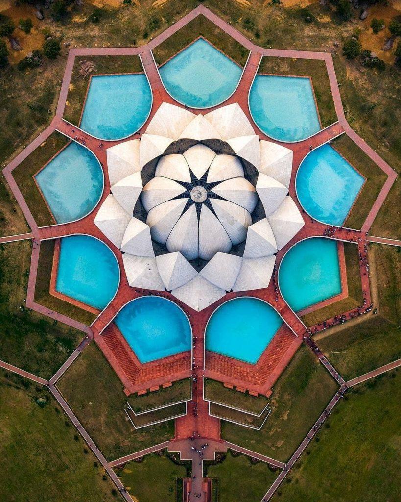 Đền Lotus nhìn từ trên xuống