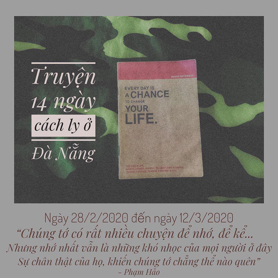 Bìa của cuốn nhật ký cách ly 14 ngày do Hảo thiết kế