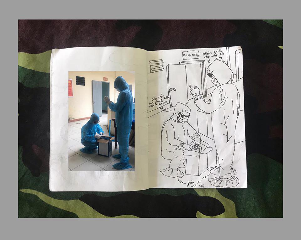 Các bác sĩ chuẩn bị đồ nghề để khám bệnh và cầu mong mấy đứa không bị làm sao